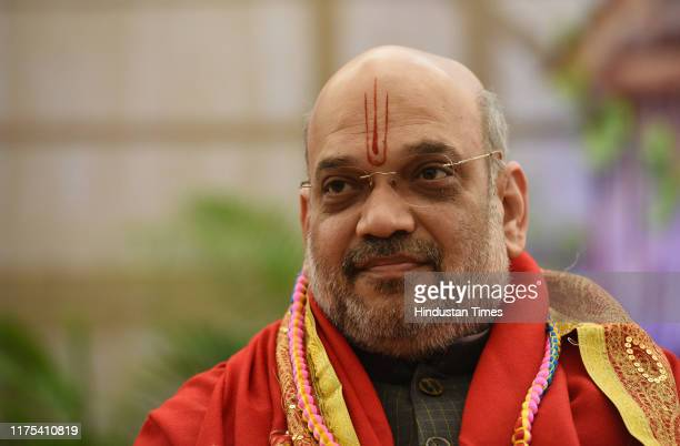 Union Home Minister Amit Shah during Chaturved Swahakar Mahayagya at Birla Mandir on October 12 2019 in New Delhi India