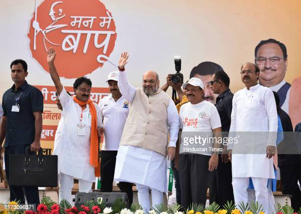 Union Home Minister and BJP President Amit Shah along with Union Health Minister Harshvardhan during Gandhi Sankalp Yatra on the occasion of the...