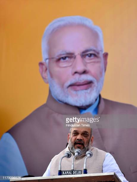Union Home Minister and BJP President Amit Shah during Gandhi Sankalp Yatra on the occasion of the 150th Birth Anniversary of Mahatma Gandhi at...