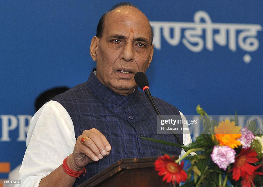 Union Home Minister of India Rajnath Singh addressing gathering during the inauguration of Regional Editors Conference at Hotel Mount View Sector 10..