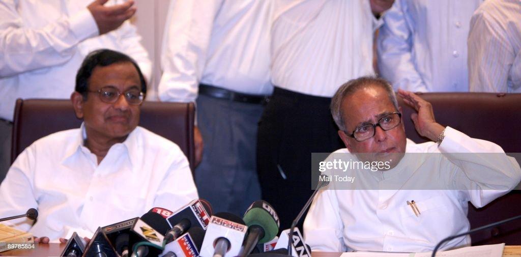 Union Home Minister P Chidambaram and Finance Minister Pranab