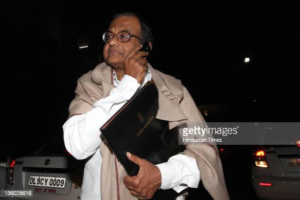 Union Home Minister P Chidambaram leaves after the cabinet meeting on Lokpal bill at Parliament House on December 20 2011 in New Delhi India