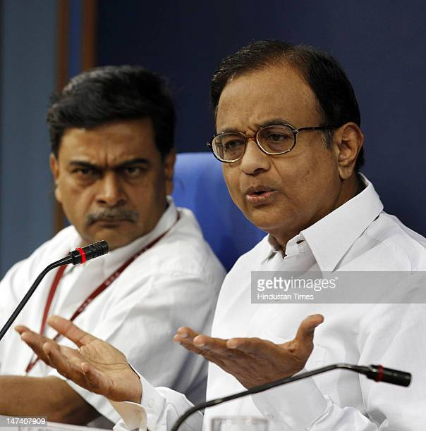Union Home Minister P Chidambaram with Home Secretary R K Singh at a press conference to present the monthly Report Card of the Ministry of Home...