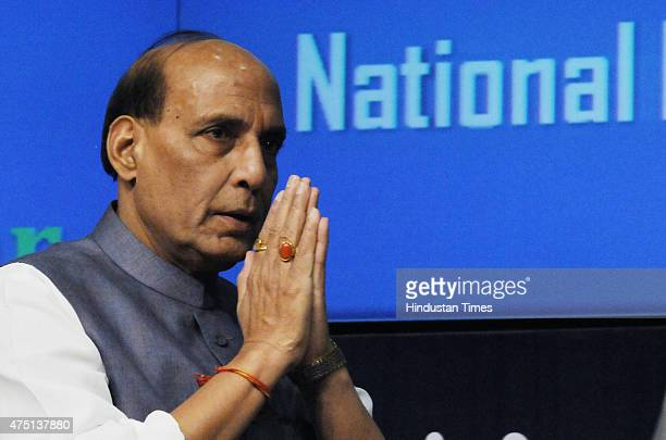 Union Home Minister Rajnath Singh address press conference on the completion of BJP led NDA government's one year on May 29 2015 in New Delhi India...