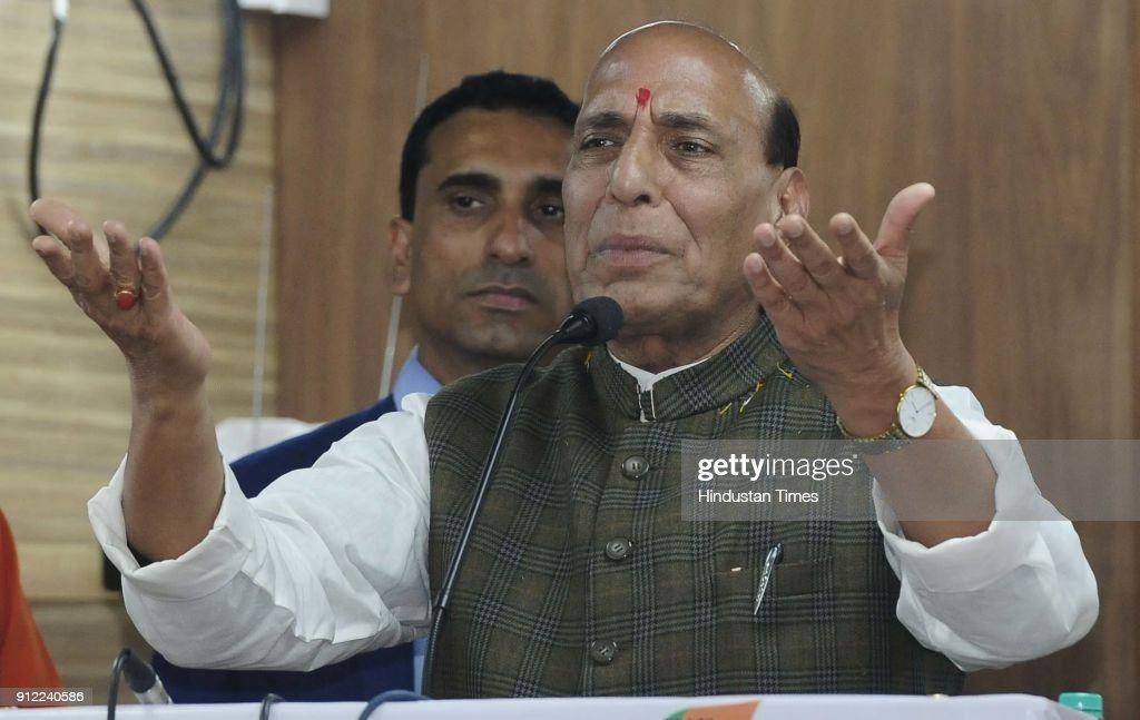 Union Home Minister Rajnath Singh address the gathering during BJYM Youth conclave at BJP Office Kamlam Sector 33 on January 30 2018 in Chandigarh...