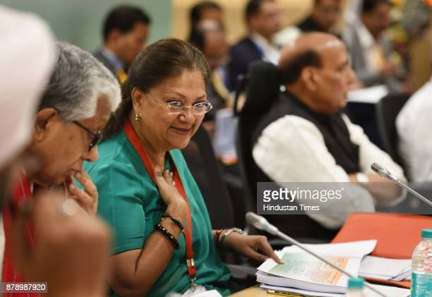 Union Home Minister Rajnath Singh along with Chief Minister of Rajasthan Vasundhara Raje during the 12th meeting of Standing Committee of InterState...