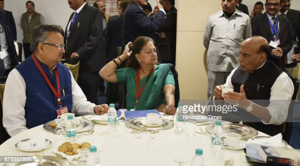 Union Home Minister Rajnath Singh along with Chief Minister of Chhattisgarh Raman Singh Chief Minister of Rajasthan Vasundhara Raje during the 12th...