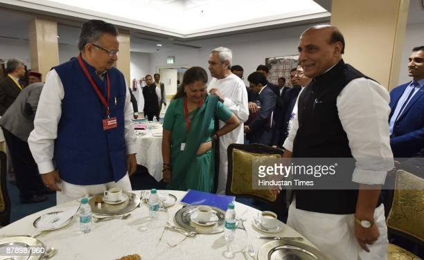 Union Home Minister Rajnath Singh along with Chief Minister of Chhattisgarh Raman Singh Chief Minister of Rajasthan Vasundhara Raje Chief Minister of...