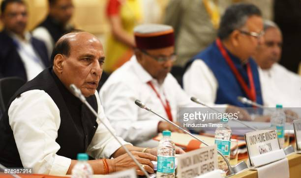 Union Home Minister Rajnath Singh along with Dr Thawar Chand Gehlot Minister of Social Justice and Empowerment Chief Minister of Chhattisgarh Raman...