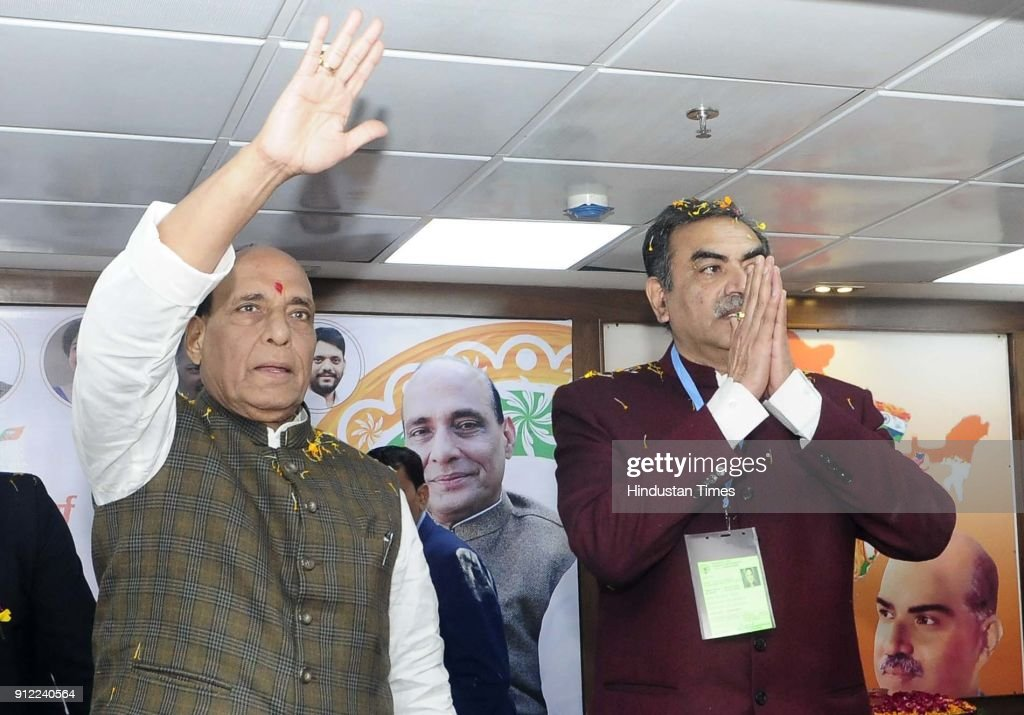 Union Home Minister Rajnath Singh and BJP Chandigarh chief Sanjay Tandon during BJYM Youth Conclave at BJP Office Kamlam Sector 33 on January 30 2018.