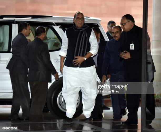 Union Home Minister Rajnath Singh arrives to attend the allparty meeting on the eve of the commencement of the winter session of Parliament on...
