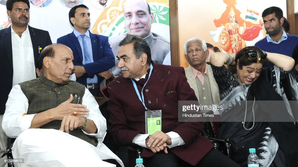 Union Home Minister Rajnath Singh BJP Chandigarh chief Sanjay Tandon Chandigarh MP Kirron Kher and Chandigarh mayor Davesh Moudgil during Rajnath...