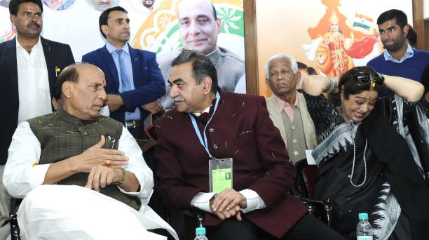 Union Home Minister Rajnath Singh BJP Chandigarh chief Sanjay Tandon Chandigarh MP Kirron Kher and Chandigarh mayor Davesh Moudgil during Rajnath...
