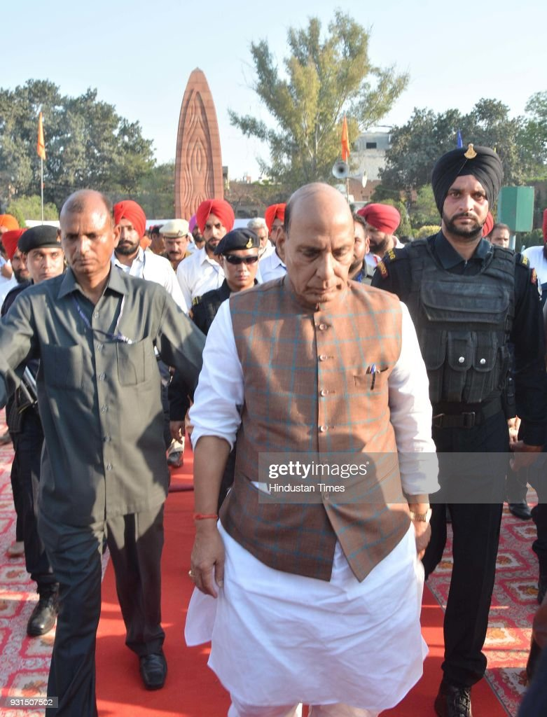 Union Home Minister Rajnath Singh coming out from Jallianwala Bagh after attending unveiling ceremony of Statue of Saheed Udham Singh at Jallianwala..