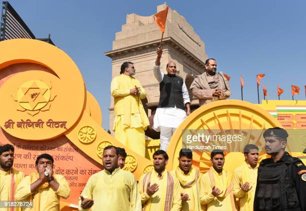 Union Home Minister Rajnath Singh flagging off the Jal Mitti Rath Yatra which will bring water and Soil from four holy places in India for the...