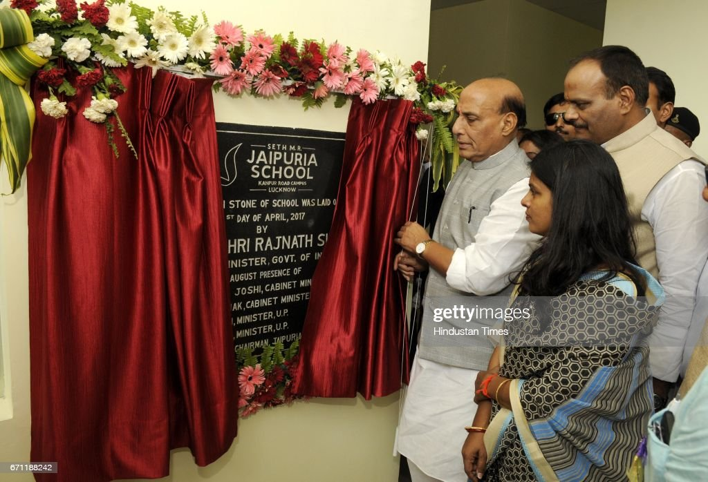 Union Home Minister Rajnath Singh inaugurating the new branch of Seth MR Jaipuria School at Kanpur Road, on April 21, 2017 in Lucknow, India. Rajnath said that Sanskrit should be made compulsory in school curriculum from the very beginning to inculcate Indian culture and values among students.