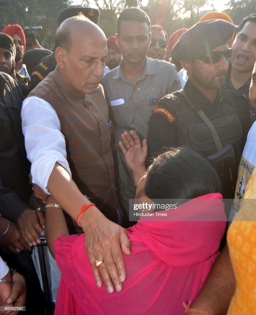 Union Home Minister Rajnath Singh meet family members of Freedom Fighters during unveiling ceremony of Statue of Saheed Udham Singh at Jallianwala...