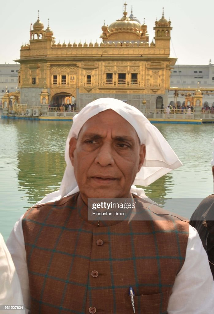 Union Home Minister Rajnath Singh paying obeisance at Golden Temple on March 13 2018 in Amritsar India