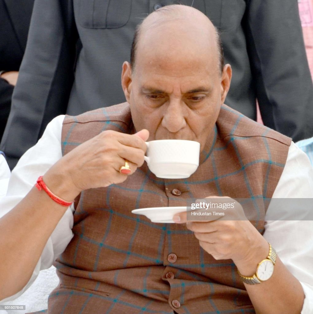 Union Home Minister Rajnath Singh taking tea during unveiling ceremony of Statue of Saheed Udham Singh at Jallianwala Bagh on March 13 2018 in...