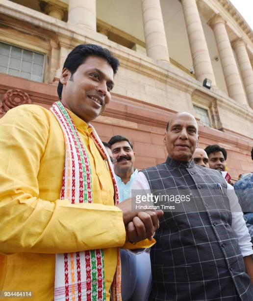 Union Home Minister Rajnath Singh with Tripura chief minister Biplab Kumar Deb during the Budget Session of Parliament on March 19 2018 in New Delhi...