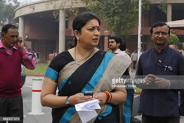 Union HRD Minister Smriti Irani after BJP Parliamentary party meeting during Budget session at Parliament house on February 24 2015 in New Delhi...