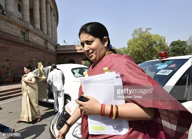 Union HRD Minister Smriti Irani at Parliament House on March 9 2016 in New Delhi India Replying to the motion of thanks in the Parliament Prime...
