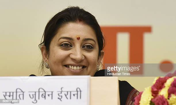 Union HRD Minister Smriti Irani during the Akhil Bharatiya Prachaarya Sammelan organized by the Vidya Bharati Akhil Bharatiya Shiksha Sansthan at...