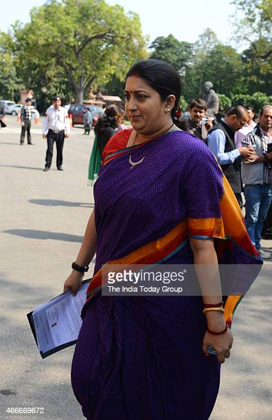 Union HRD Minister Smriti Irani during the Budget session at Parliament House in New Delhi