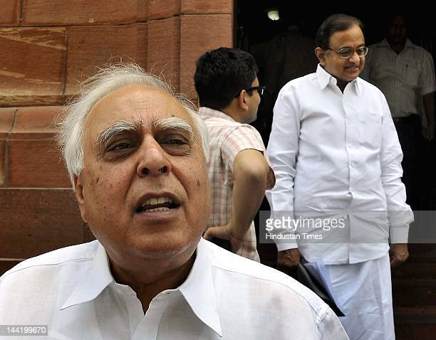 Union Human Resource Development Minister Kapil Sibal addresses the media after attending the ongoing budget session at parliament House on May 11...