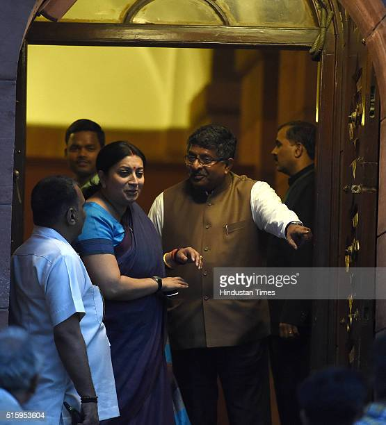 Union Human Resource Development Minister Smriti Irani and Minister of Communications and Information Technology Ravi Shankar Prasad during the...