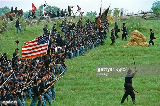 union infantry attack us civil war reenactment - civil war stock pictures, royalty-free photos & images