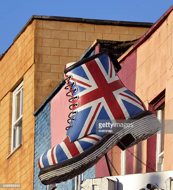 union jack boot - camden london stock pictures, royalty-free photos & images