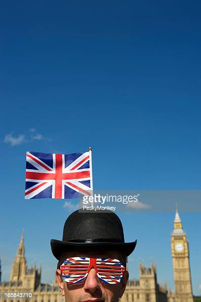 Union Jack Bowler Hat Man Stands at Westminster London