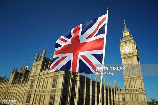 Union Jack British Flag Flies at Houses of Parliament London