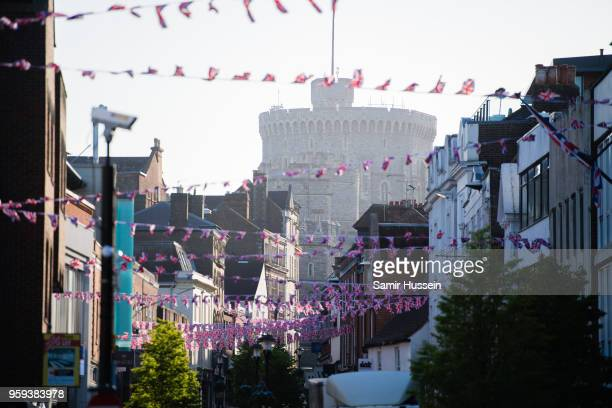 Union Jack bunting hang on a street near Windsor Castle on May 17 2018 in Windsor England Preparations continue in the town for the wedding between...