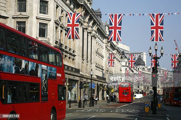 Union Jack bunting hanging in Regent Street to celebrate the wedding of Prince William and Kate Middleton
