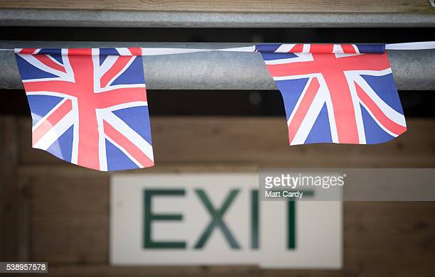 Union Jack bunting is displayed near the show exit on the first day of the Royal Cornwall Show at the Royal Cornwall Show near Wadebridge on June 9...