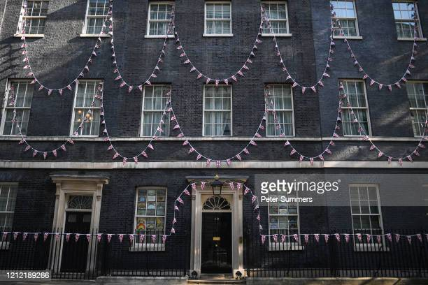 Union Jack bunting is seen adorning number 10 Downing Street for VE Day celebrations on May 8, 2020 in London, United Kingdom . The UK commemorates...