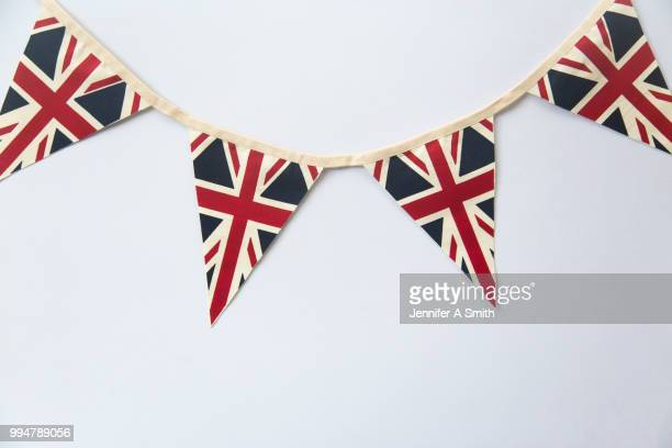 union jack bunting - bunting stock pictures, royalty-free photos & images