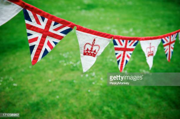 Union Jack Crown Celebratory Bunting Green Grass Royal Baby Decoration