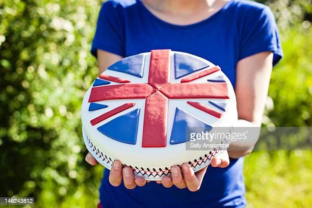 union jack flag cake - british flag cake stock pictures, royalty-free photos & images
