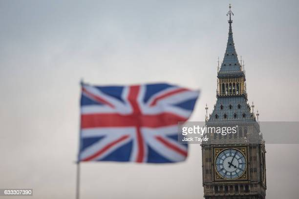Union Jack flag flutters in front of the Elizabeth Tower, commonly known as Big Ben on February 1, 2017 in London, England. The European Union bill...