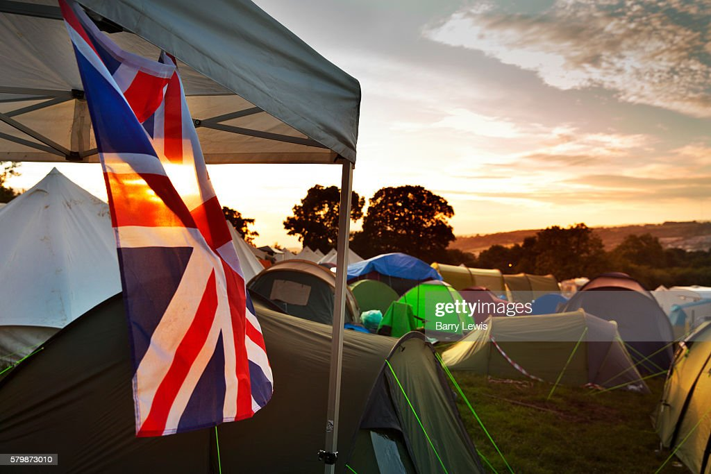 Union Jack flag hanging from a tent in the Shangri La c&ing field Glastonbury Festival & Glastonbury Festival Pictures | Getty Images