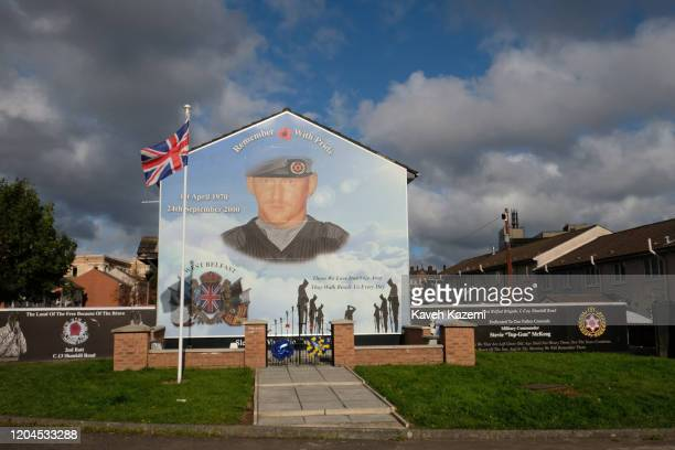 Union Jack flag is seen amass at the memorial site of Stevie McKeag also known as TopGun who was a Loyalist paramilitary commander of Ulster Defence...