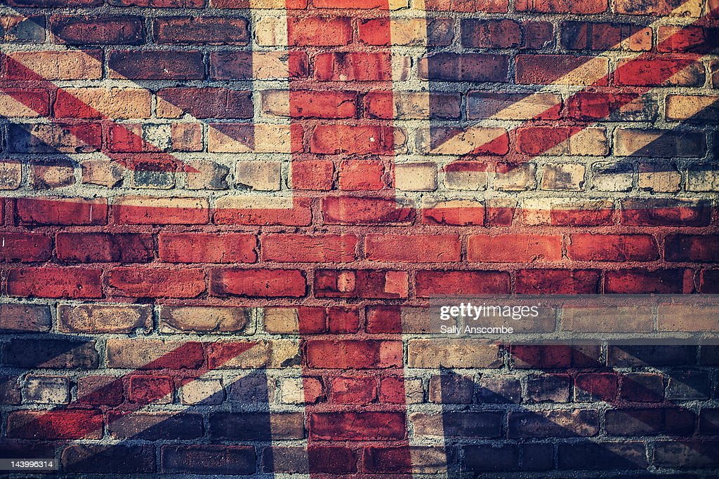 Union Jack flag on  brick wall : Stock Photo