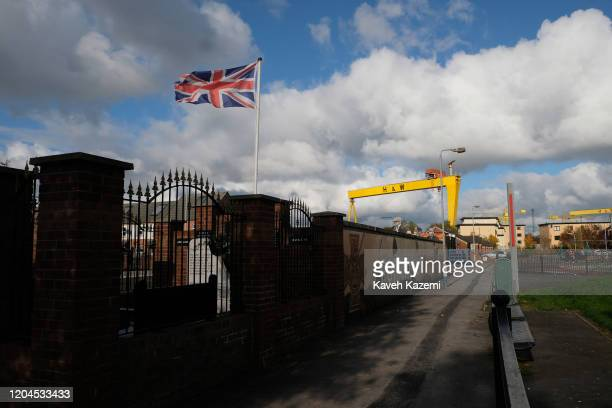 Union Jack flag seen amass in the Loyalist residential neighbourhood near the old shipyard on October 29 2019 in East Belfast United Kingdom Harland...