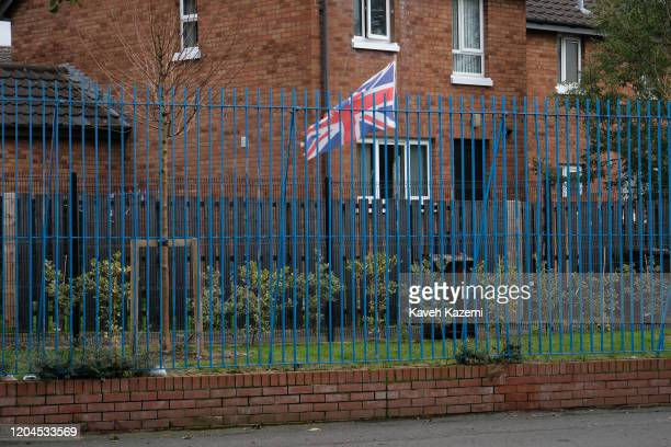 Union Jack flag seen amass on the Loyalist side of the Cupar Way which runs between the peace line dividing the Protestant and Catholic communities...