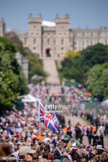 A Union Jack flag stands proud amongst the crowds of people lining Windsor Great Park's 'Long Walk' to celebrate the marriage of Meghan Markle and Prince Harry