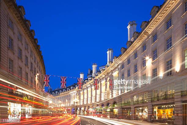 Union Jack Flags, car trails, night, Regent Street