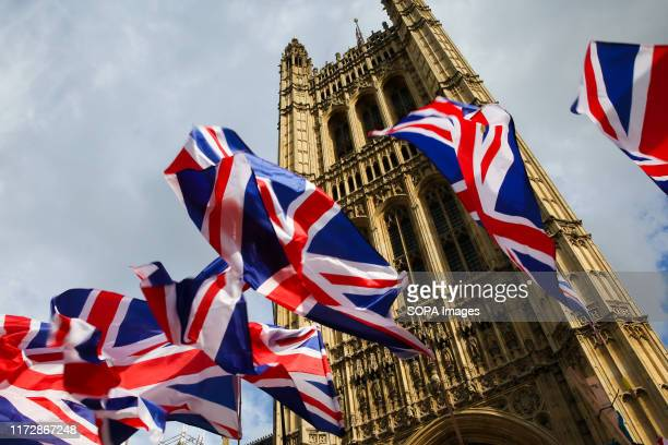 Union Jack flags fluttering outside Houses of Parliament in Westminster The British Prime Minister Boris Johnson is poised to reveal his final Brexit...